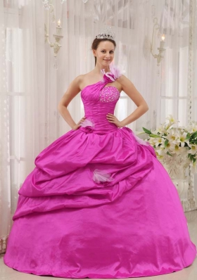 Cheap Hot Pink Ball Gown Strapless 2014 Quinceanera Dresses with Beading