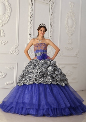 Classical Blue Strapless Court Train Zebra and Organza Quinceanera Dress