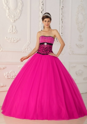 Coral Red Princess Strapless Quinceanera Dress with Zebra Beading