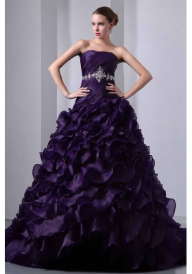 Dark Purple A-line Strapless Brush Train Beading and Ruching Quinceanea Dress