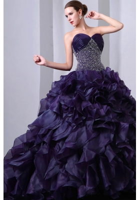 Dark Purple Princess Sweetheart Beading and Ruffles Quinceanea Dress