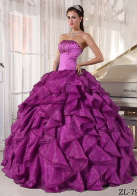 Eggplant Purple Strapless Beading Quinceanera Dress with Ruffles