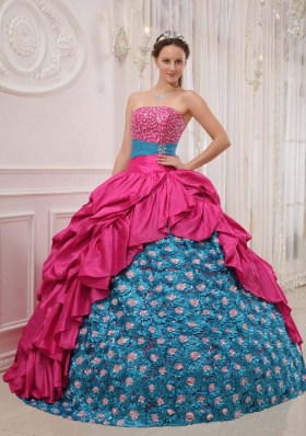 Elegant 2014 Puffy Strapless Quinceanera Dress with  Taffeta Beading