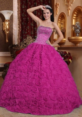 Fuchsia Ball Gown Strapless Quinceanera Dress With Rolling Flowers Beading