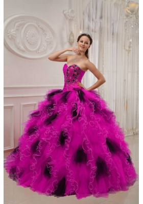 Hot Pink and Black Ball Gown Sweetheart Quinceanera Dress with Beading Ruching