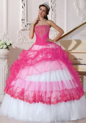 Hot Pink and White Ball Gown Strapless Long Appliques Quinceanera Dress