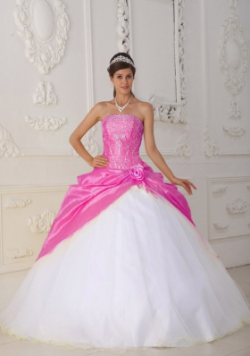 Hot Pink and White Ball Gown Strapless Quinceanera Dress with Taffeta Appliques Hand Flower
