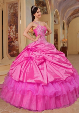 Hot Pink Ball Gown One Shoulder Quinceanera Dress with Taffeta