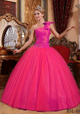 Hot Pink Ball Gown One Shoulder Quinceanera Dress with Tulle Beading