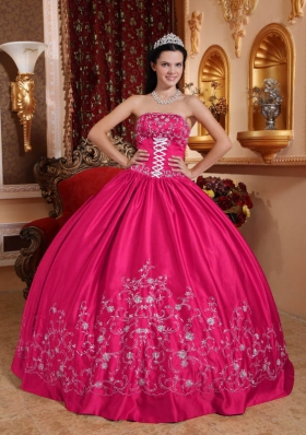 Hot Pink Ball Gown Strapless Quinceanera Dress with Taffeta Embroidery