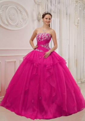 Hot Pink Ball Gown Strapless Quinceanera Dress with  Taffeta Organza Appliques
