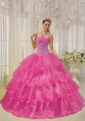 Hot Pink Ball Gown Strapless Quinceanera Dress with Taffeta Organza Beading