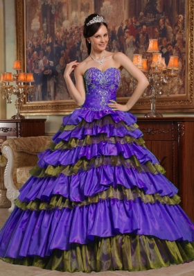 Informal Purple Sweetheart Beading and Ruffled Layers Quinceanera Gowns Dresses