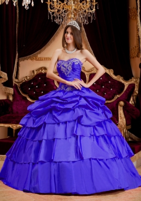 New Style Sweetheart Taffeta Appliques Quinceanera Dresses with Pick-ups