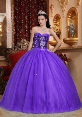 Popular Purple Sweetheart Beading Quinceanera Gowns Dresses
