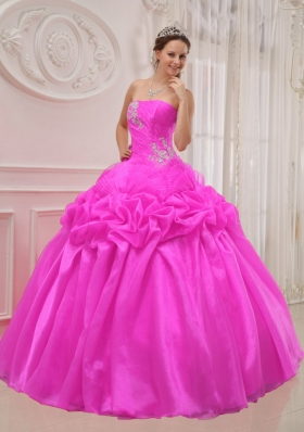 Puffy Hot Pink Strapless 2014 Quinceanera Dress with Beading