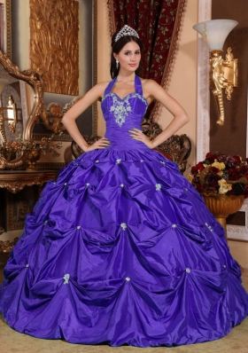 Purple Ball Gown Halter Top Appliques and Pick-ups Quinceanera Dress
