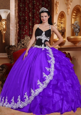 Purple Ball Gown Halter Top Appliques Dresses For a Quince with Ruffles