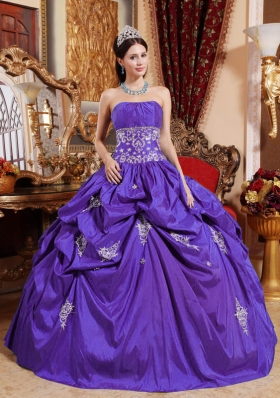 Purple Ball Gown Strapless Appliques Dress For Quinceaneras with Pick-ups