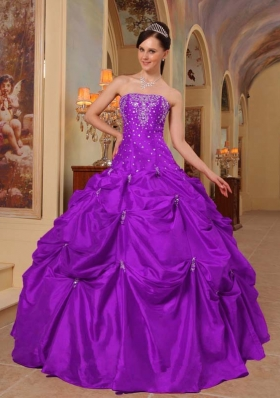 Purple Ball Gown Strapless Beading and Pick-ups Quinceanera Gown