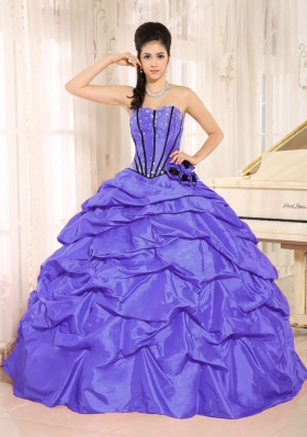 Purple Beaded and Hand Made Flowers Dresses Quinceanera With Pick-ups