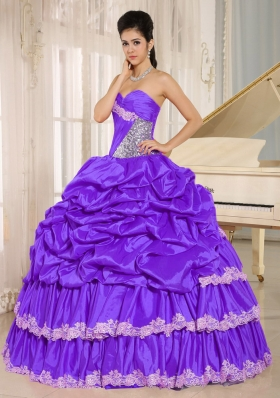 Purple Beaded Appliques and Pick-ups Quinceanera Dresses Gowns For Custom Made