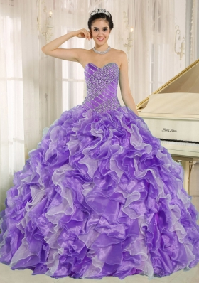 Purple Beaded Bodice and Ruffles Exclusive For 2014 Quinceanera Gowns