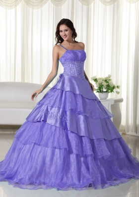 Purple One Shoulder Beading Dress For Quinceaneras with Ruffled Layers