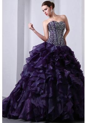 Purple Princess Sweetheart Beading and Ruffles Quinceanea Dress