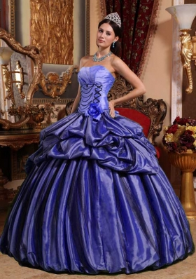 Purple Strapless Hand Made Flower and Pick-ups Quinceanera Dress