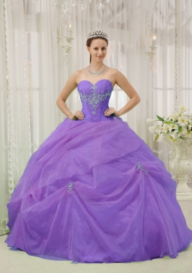 Purple Sweetheart Appliques and Pick-ups Quinceanera Dress