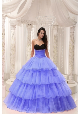 Purple Sweetheart Beaded and Layers Ball Gown Quinceanera Dress
