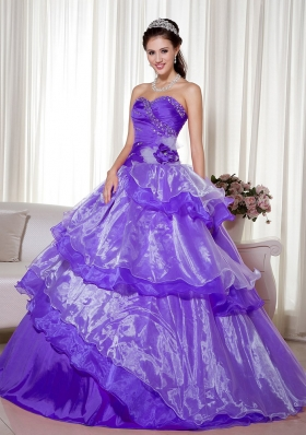 Purple Sweetheart Beading and Hand Made Flower Dress For Quinceanera with Ruffled Layers