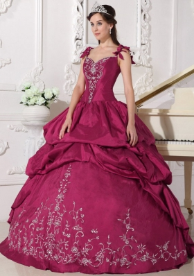 Red Ball Gown Straps Quinceanera Dress with Taffeta Embroidery