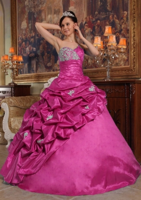 Simple Ball Gown Sweetheart Beading Quinceanera Dress in Hot Pink