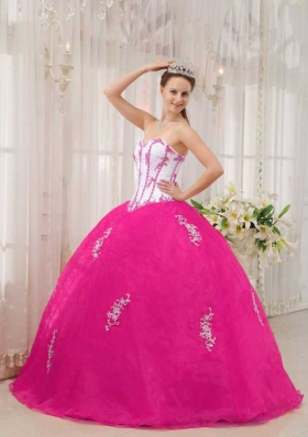 White and Hot Pink Ball Gown Sweetheart Quinceanera Dress with Taffeta Appliques