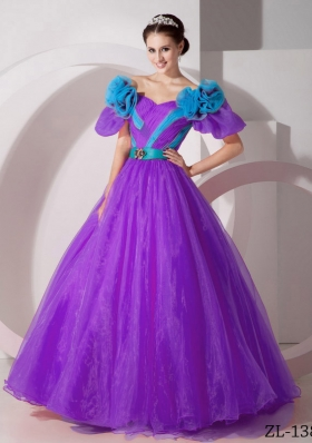 A-line V-neck Floor-length Organza Hand Made Flowers Prom Dress