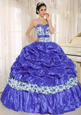 Ball Gown Sweetheart Beaded and Pick-ups For Purple Quinceanera Dress