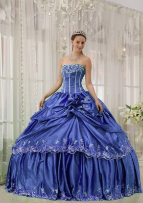 Blue Strapless Beading and Applique Discount Sweet Sixteen Dresses
