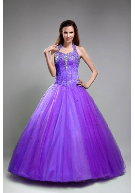 Discount Princess Halter Tulle Purple Quinceanera Gowns with Beading