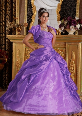 Elegant Purple Princess Sweetheart Appliques Quinceanera Dresses