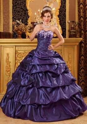 Fashionable Sweetheart Taffeta Appliques Purple Sweet 16 Dresses
