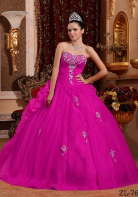 Fuchsia Ball Gown Sweetheart Quinceanera Dress with  Organza Appliques