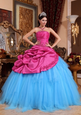 Hot Pink and Blue Ball Gown Strapless Quinceanera Dress with Appliques Beading