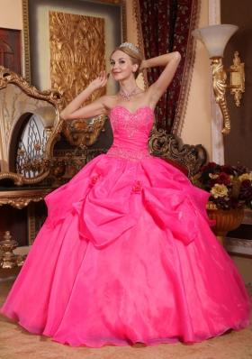 Hot Pink Ball Gown Appliques Quinceanera Gowns with Sweetheart