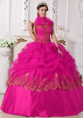Hot Pink Ball Gown Halter Quinceanera Dress with Taffeta Beading Appliques