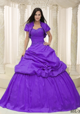 Pick-ups Sweetheart Appliques For Purple Quinceanera Gowns