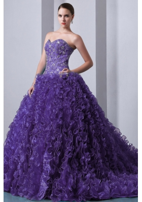 Purple A-line Sweetheart Beading and Ruffles Dress For Quinceanera