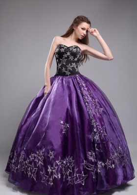 Purple Ball Gown Sweetheart Embroidery 2014 New Quinceneara Dresses