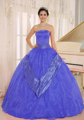 Purple Beaded Decorate 2014 Dress For Quinceaneras With Strapless